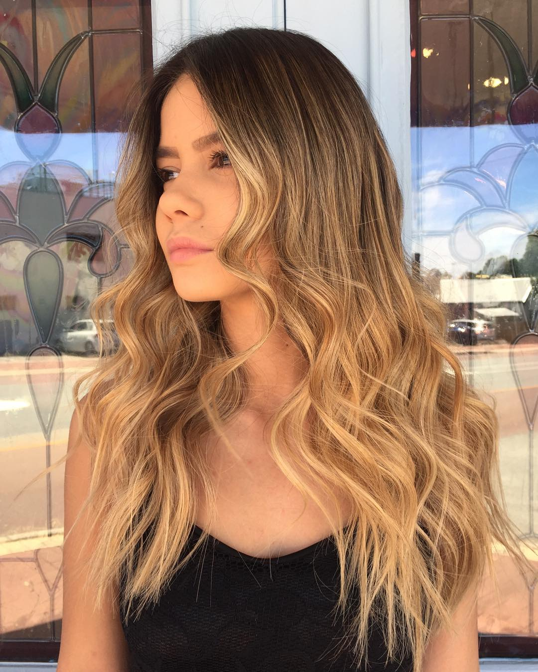 Long Caramel Blonde Ombre Hairstyle