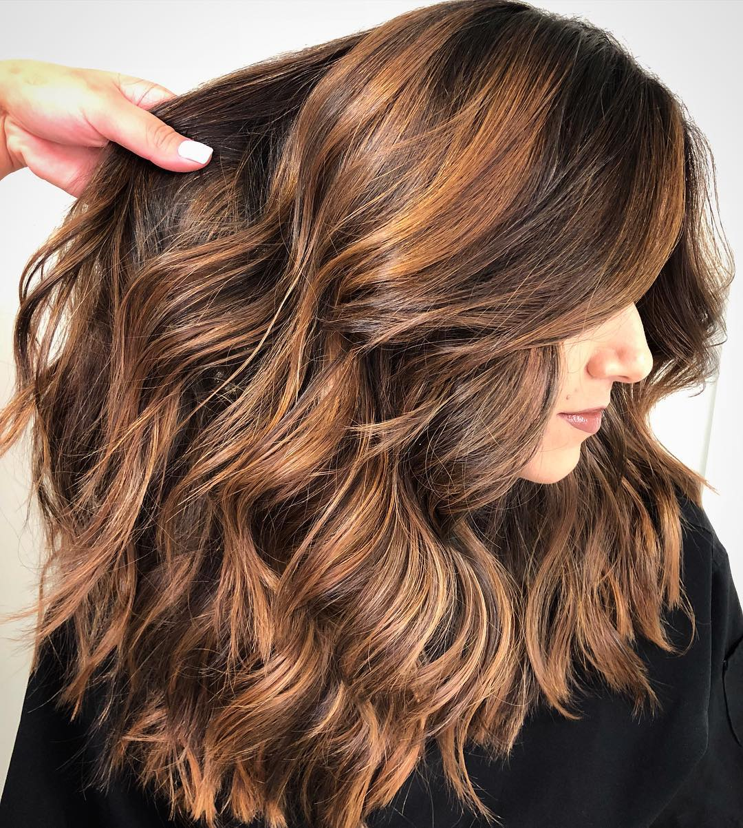 Long Copper Balayage Hairstyle