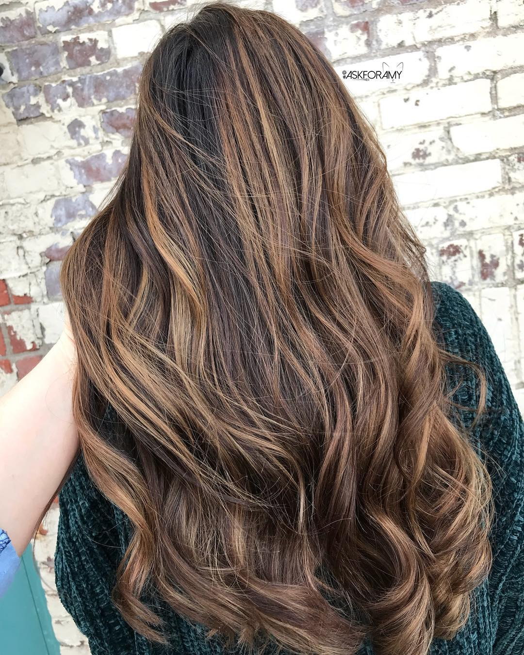 Long Thick Brown Hair with Caramel Highlights