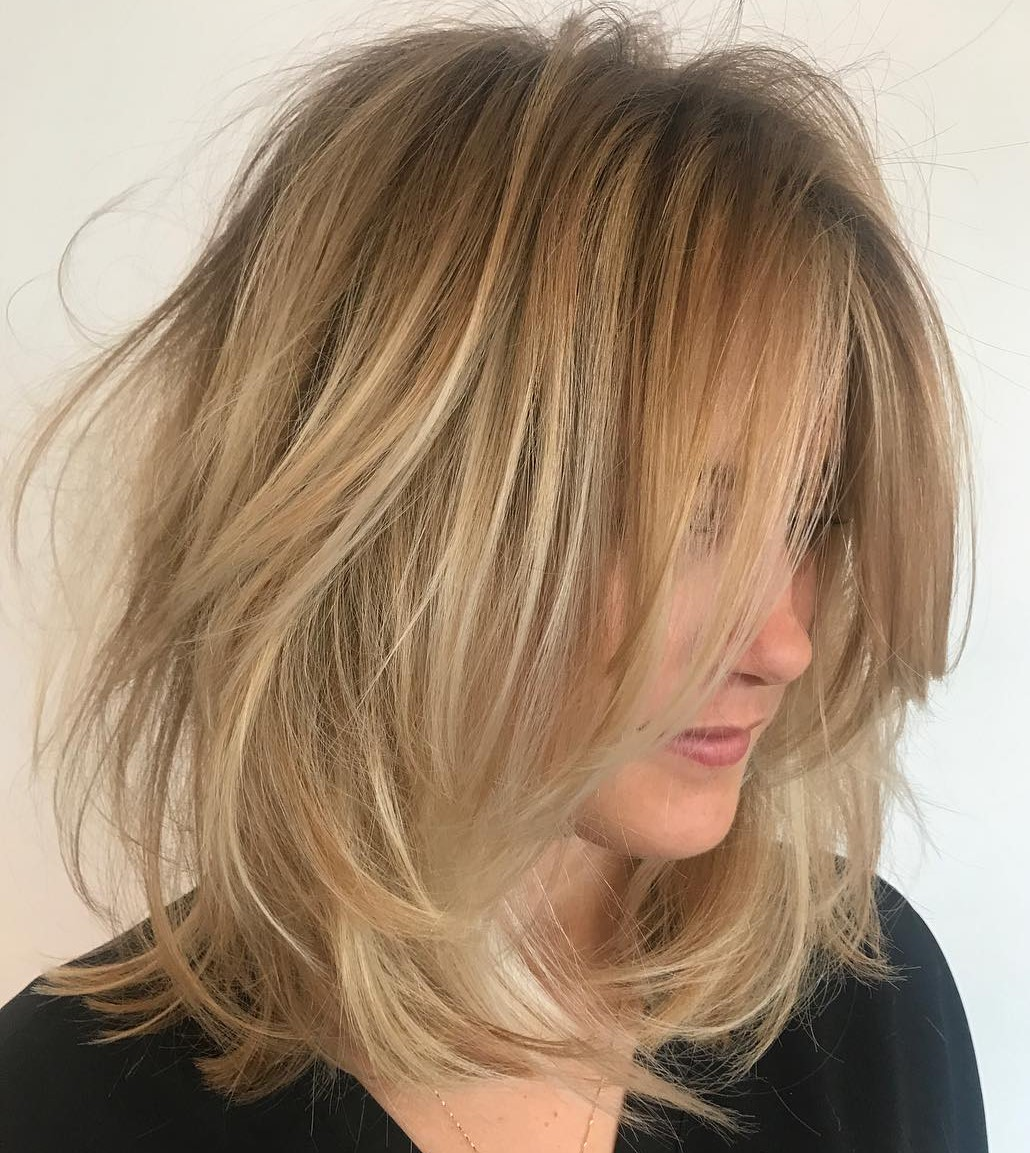 Tousled Shoulder Length Hair Style
