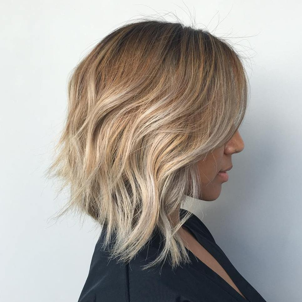 Long choppy Golden Blonde Lob