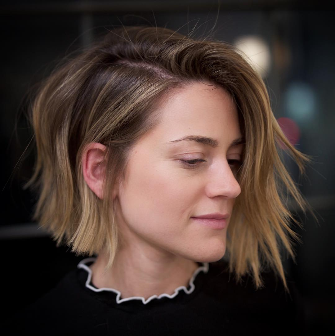 Choppy Brown Bob with Highlights