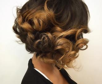 Short Layered Bob with Caramel Curls