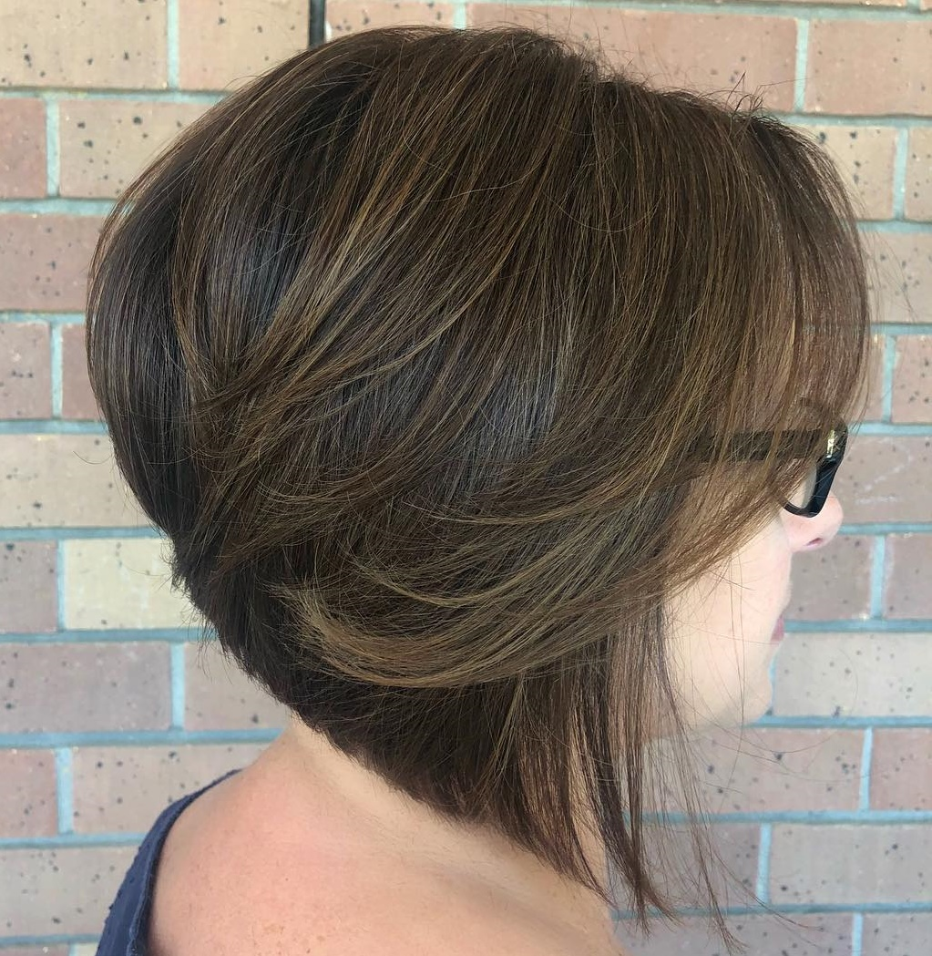 Sleek Angled Brown Bob Cut