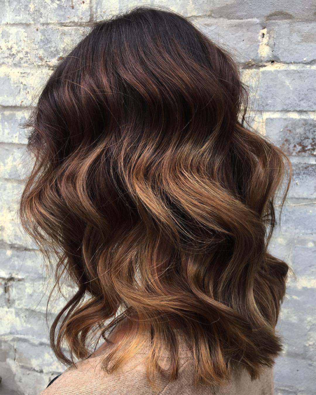 Chocolate Hair with Caramel Peekaboo Highlights