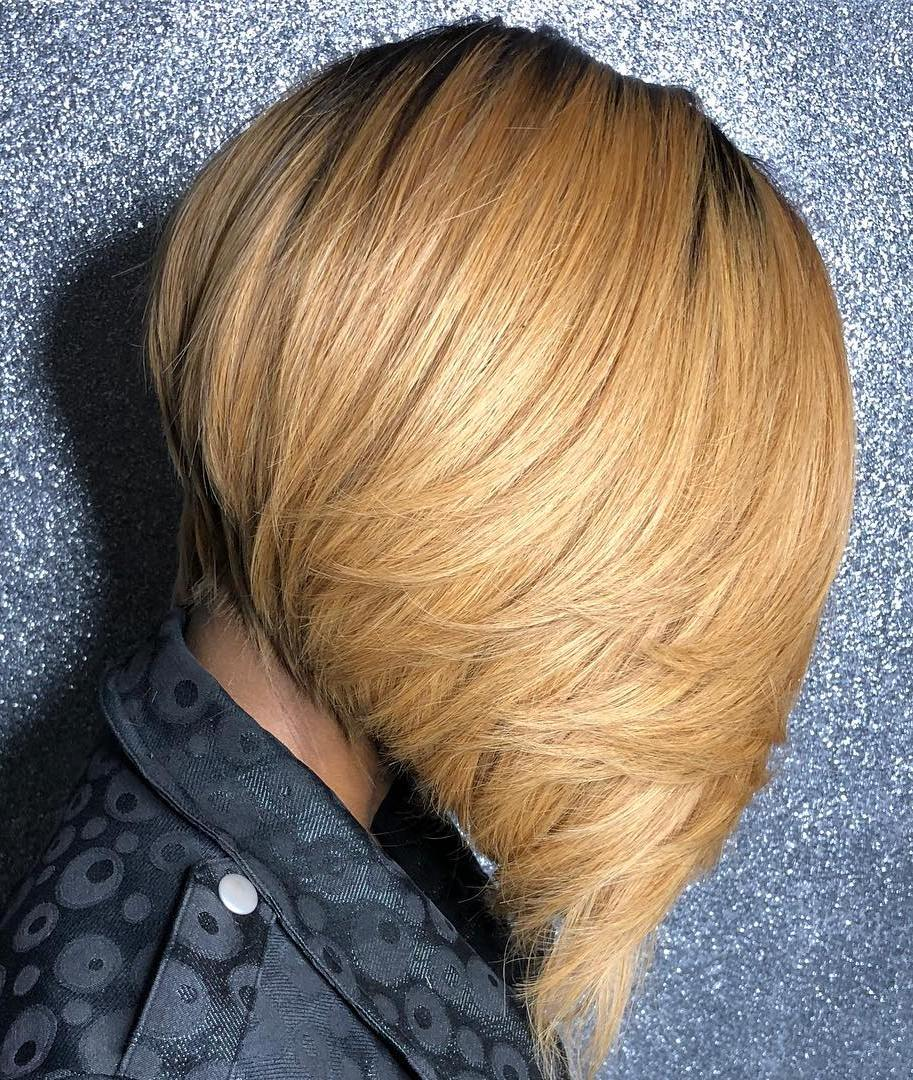 Steeply Angled Feathered Caramel Bob
