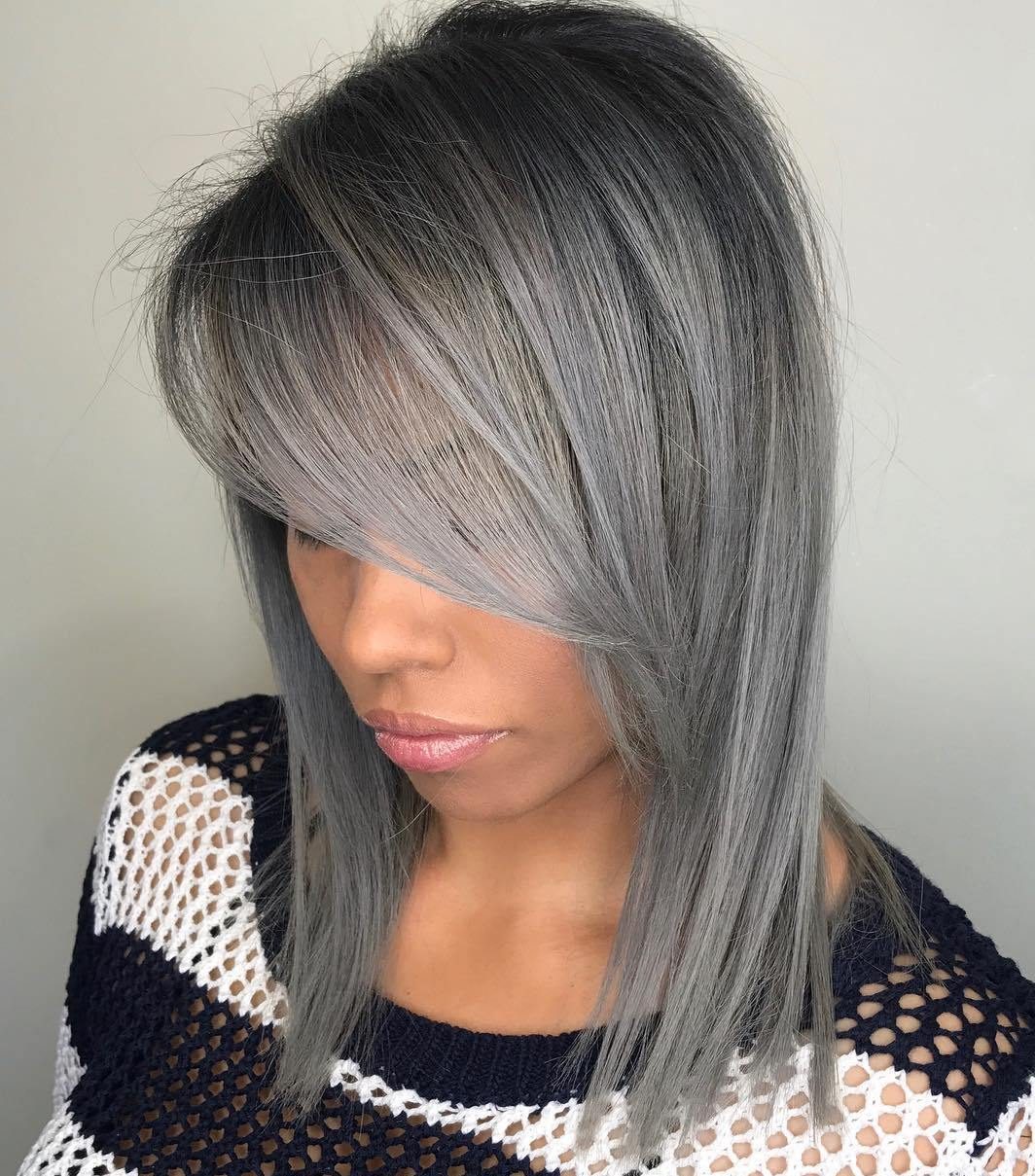 Silver Gray Side-Parted Long Bob