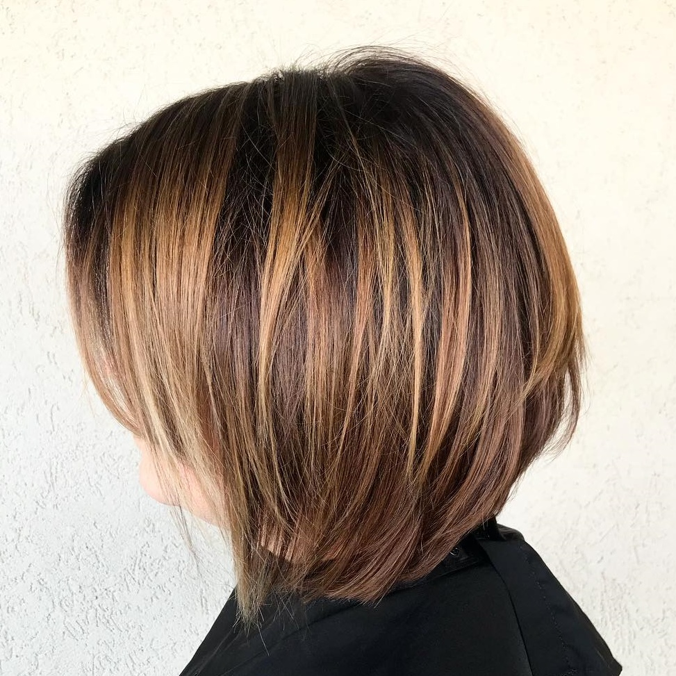 Layered Caramel Brown Bob with Side Bangs