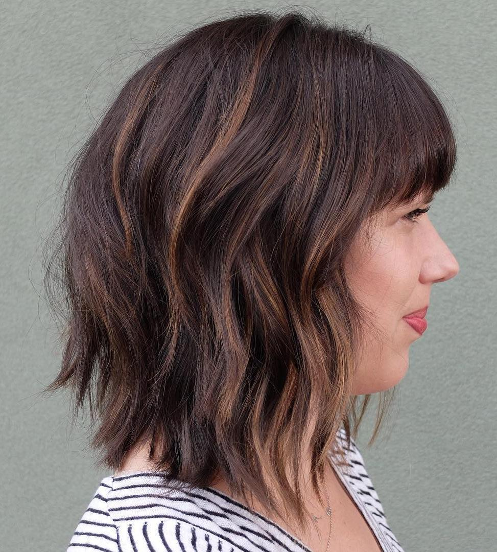 Wavy Lob with Bangs