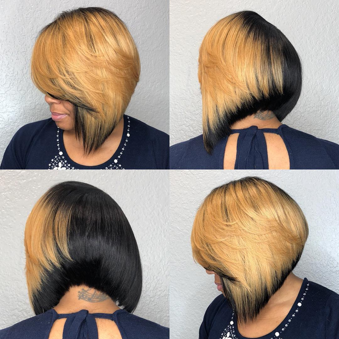 Edgy Half Black Half Blonde Bob