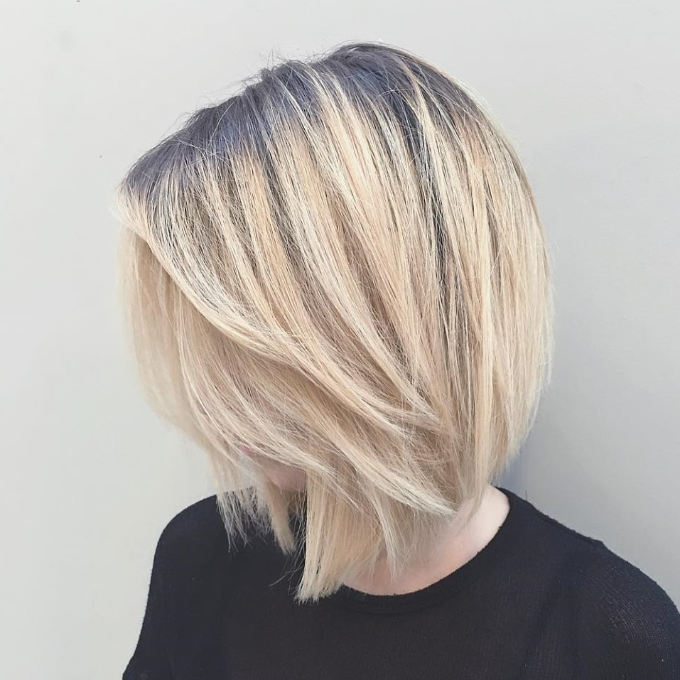 Blonde Feathered Bob with Shadow Roots
