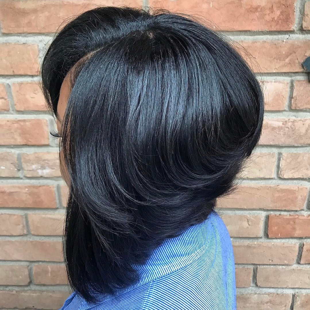 Bouncy Black Bob with Extra Shine