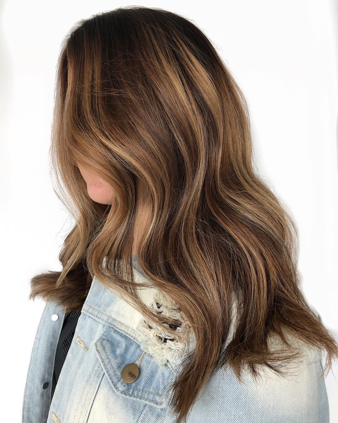 Long Brown Hair with Bronze Highlights