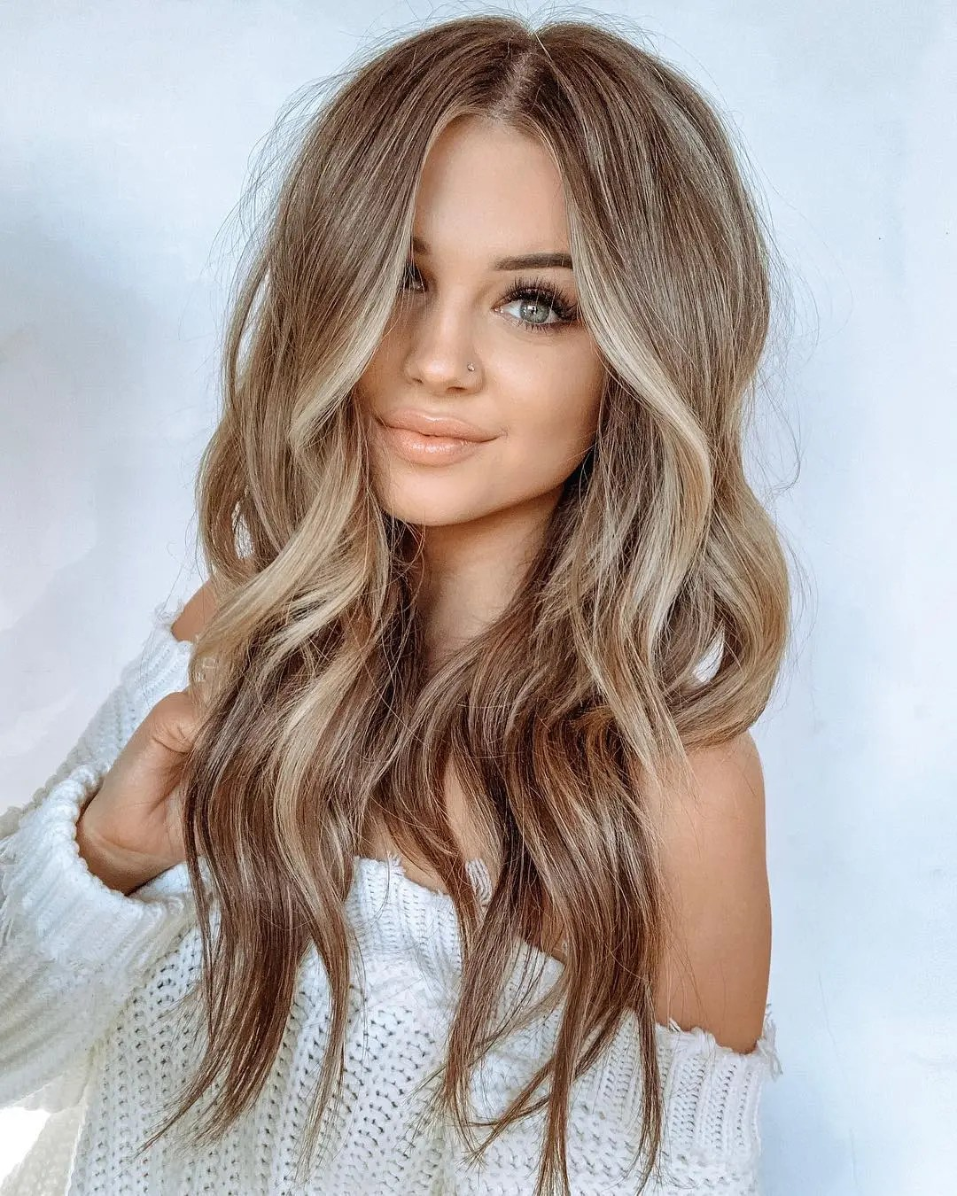 Light Brown Hair with Waves and Highlights
