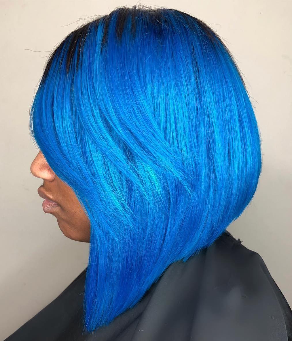 African American Bright Blue Bob