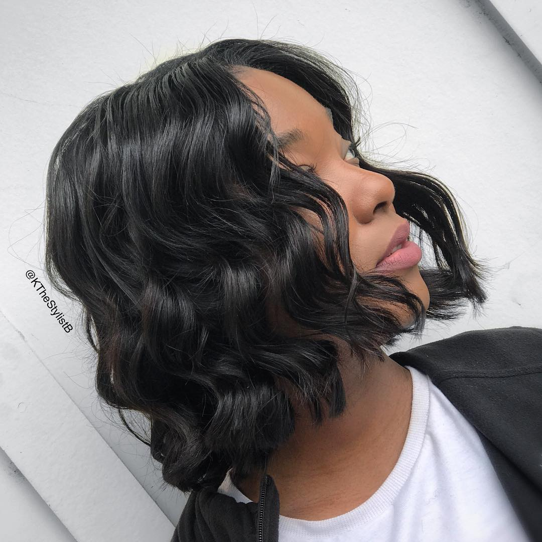 Chic Black Bob with Perfect Waves