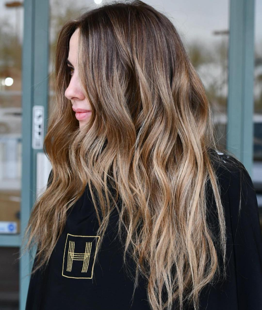 Shiny Light Brown Waves with Dark Roots