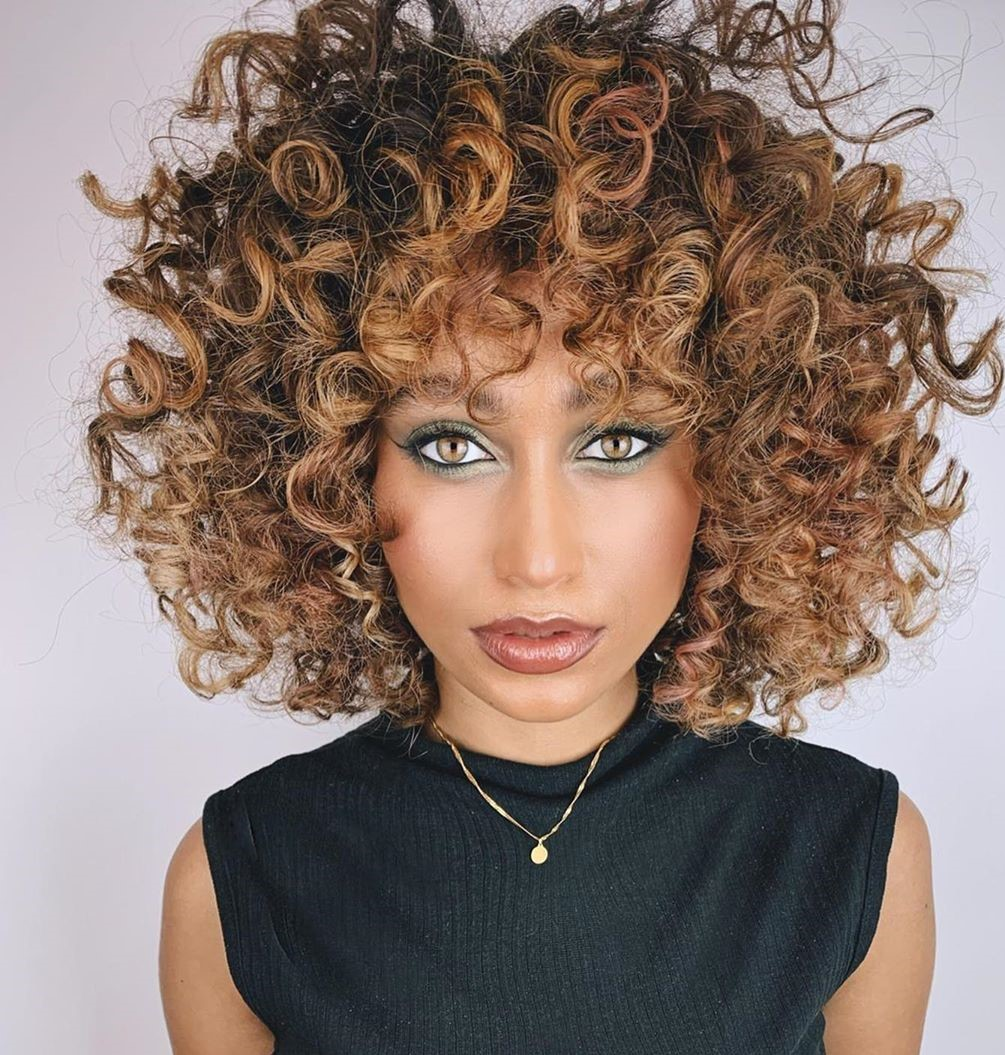 Curly Brown Hair with Caramel Highlights