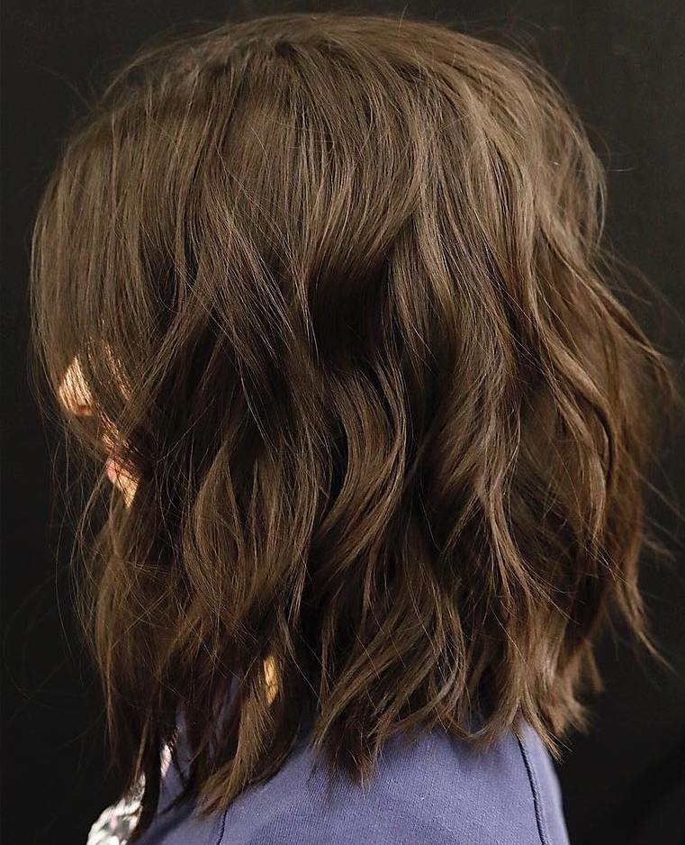 Brunette Lob with Beach Waves