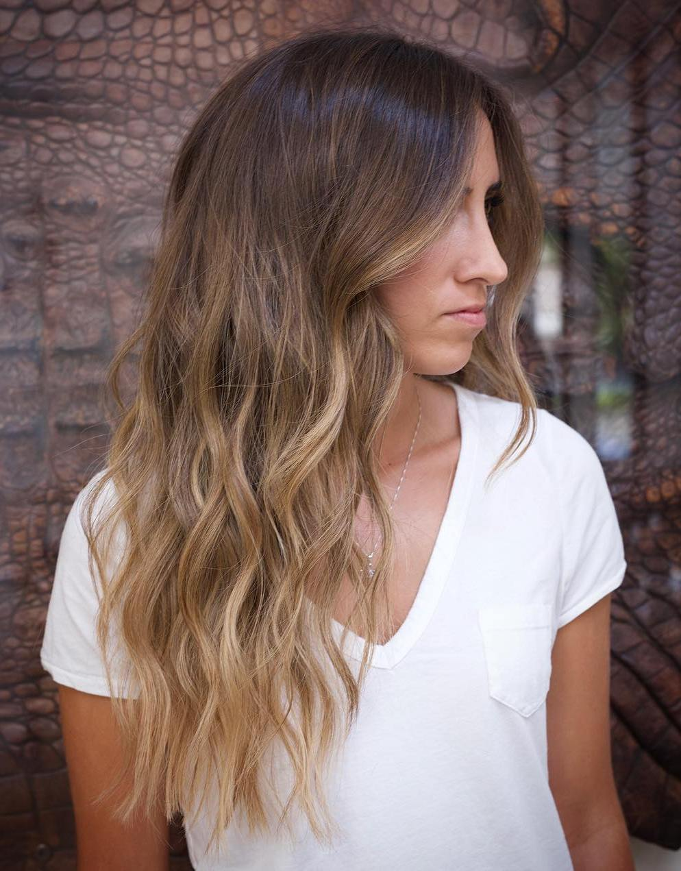 Wavy Brown Hairstyle with Honey Highlights