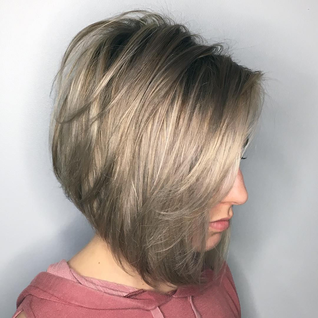 Long Feathered Inverted Bob