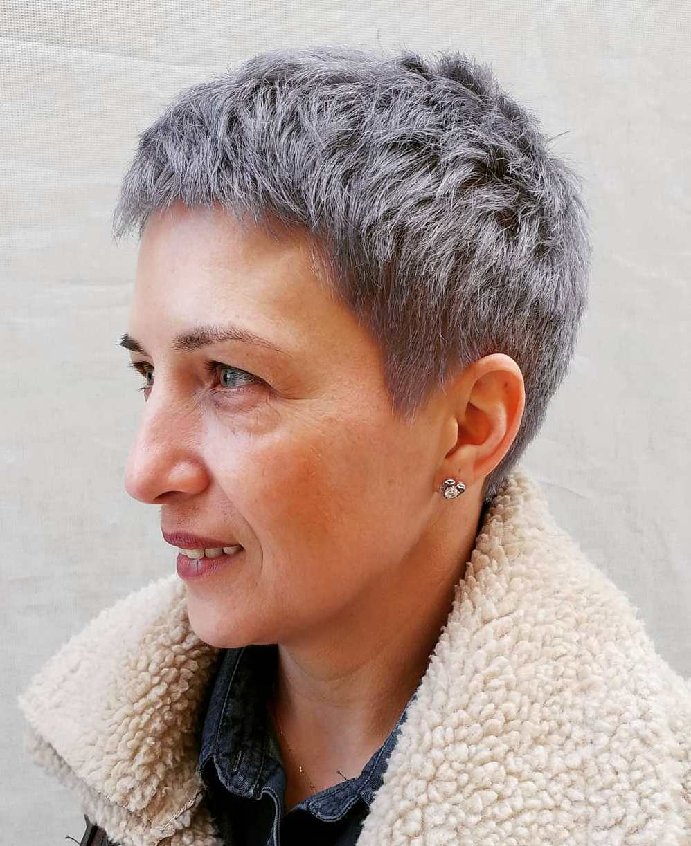 Super Short Gray Choppy Pixie