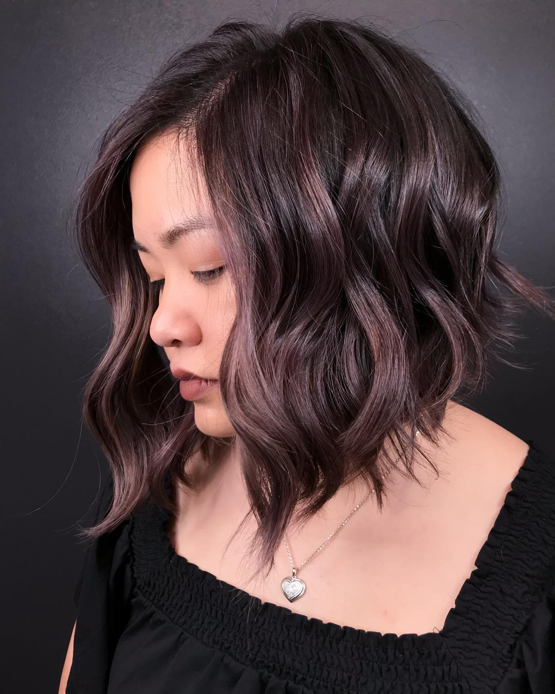Inverted Dark Bob with Mauve Highlights