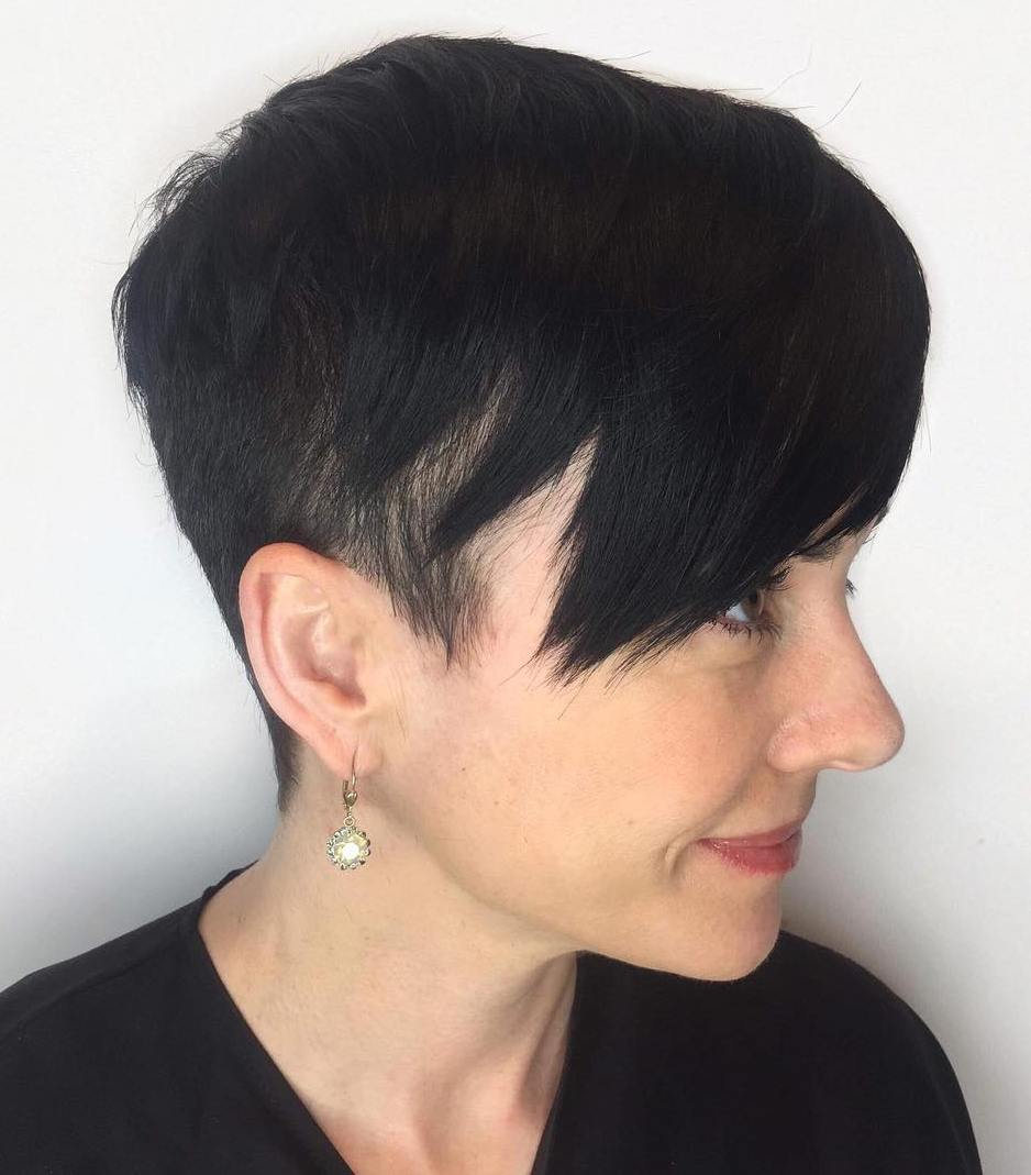 Straight Black Undercut Pixie
