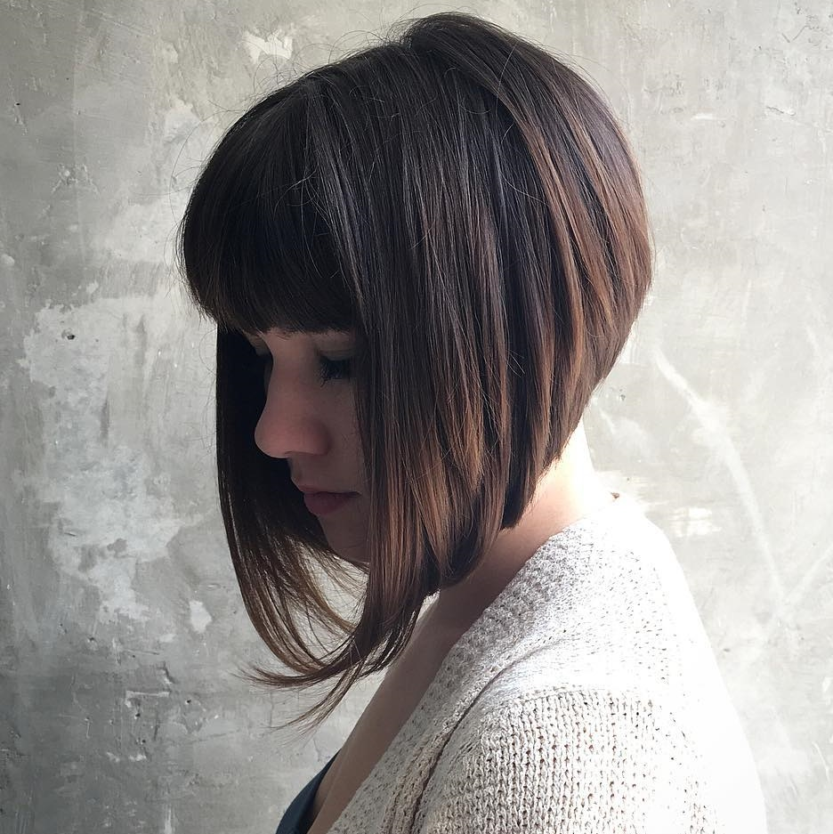 Stacked Angled Straight Bob with Short Bangs