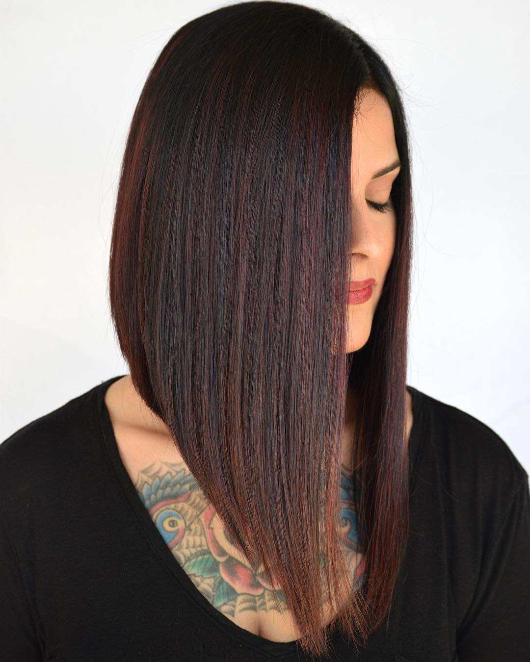 Steeply Angled Long A-Line Bob
