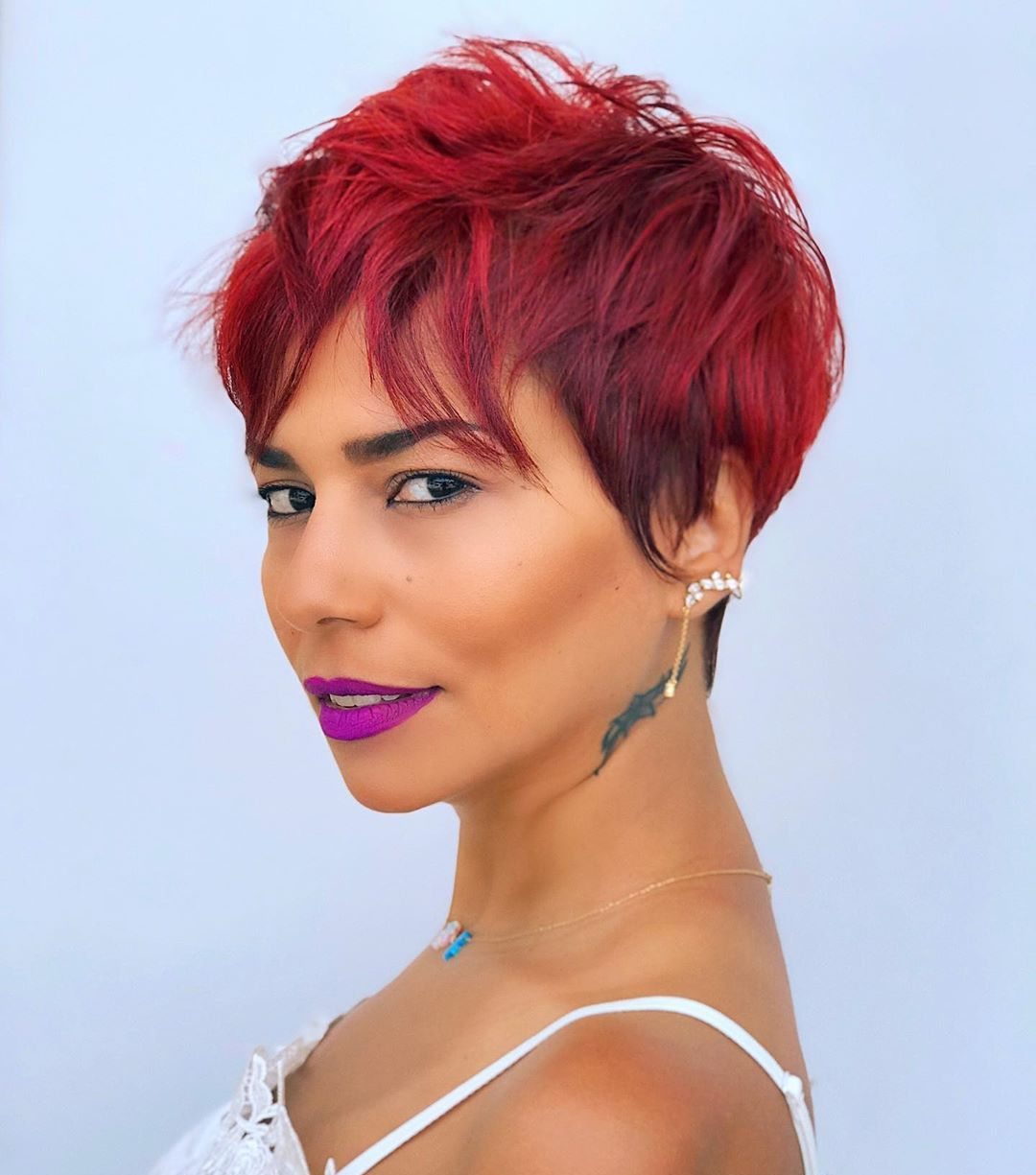 Bright Short Messy Pixie with Bangs