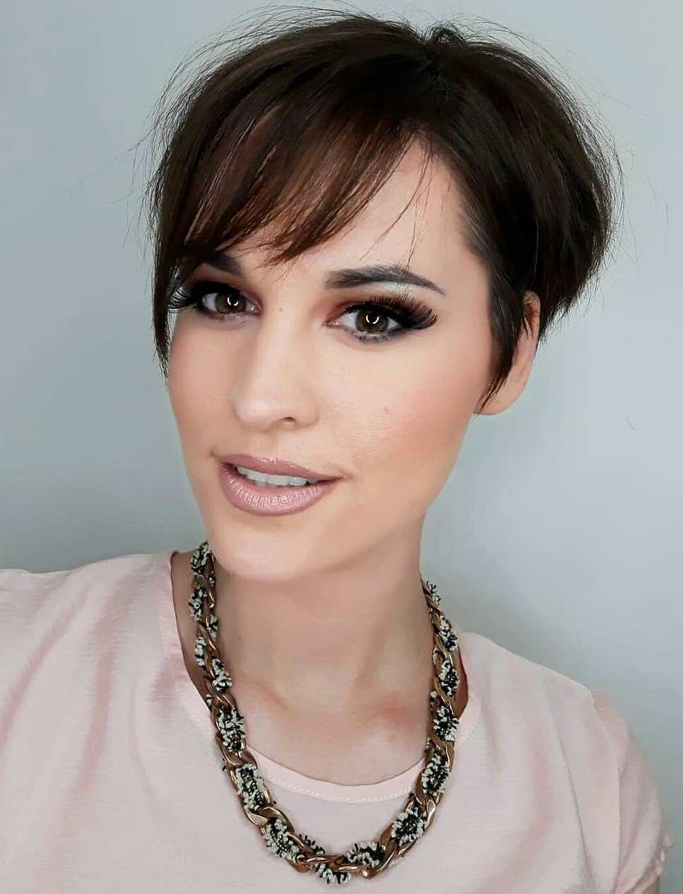 Straight Tapered Pixie with Side Bangs