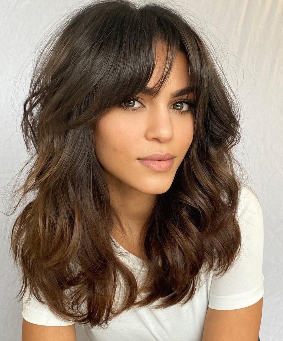 Long Thick Wavy Hairstyle with Bangs