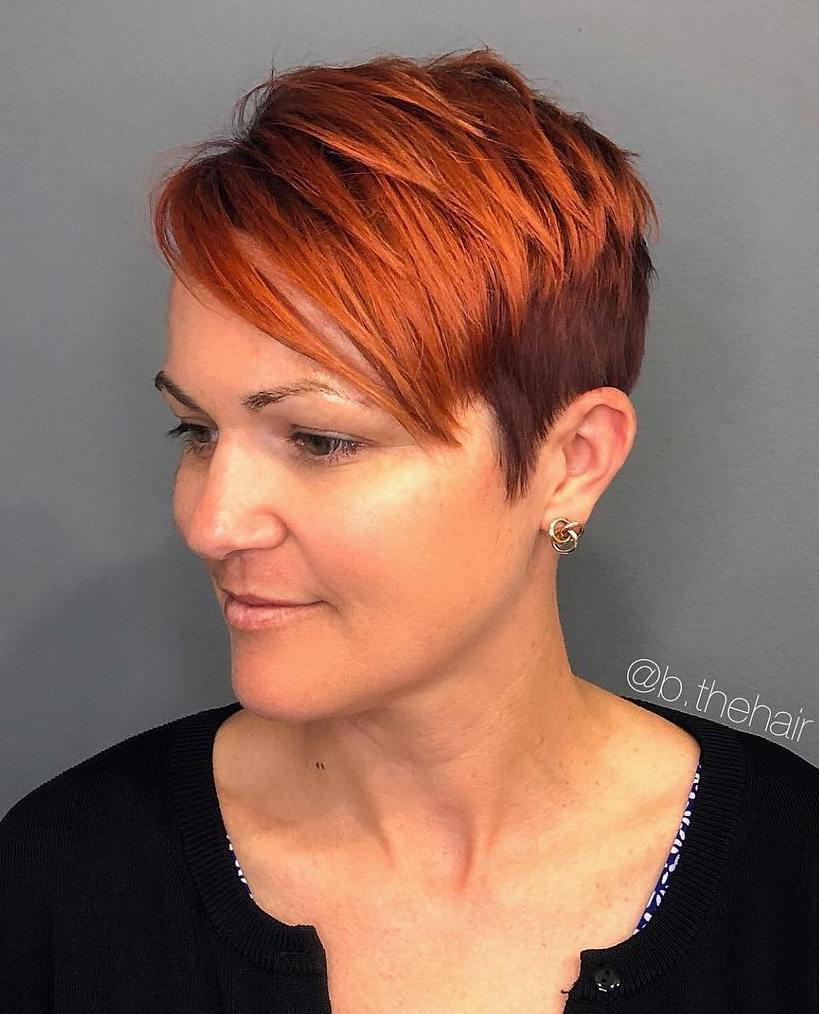 Burgundy and Red Choppy Pixie