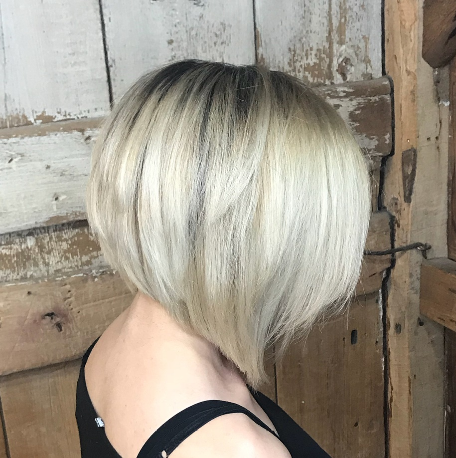 Blonde Inverted Bob with Dark Roots