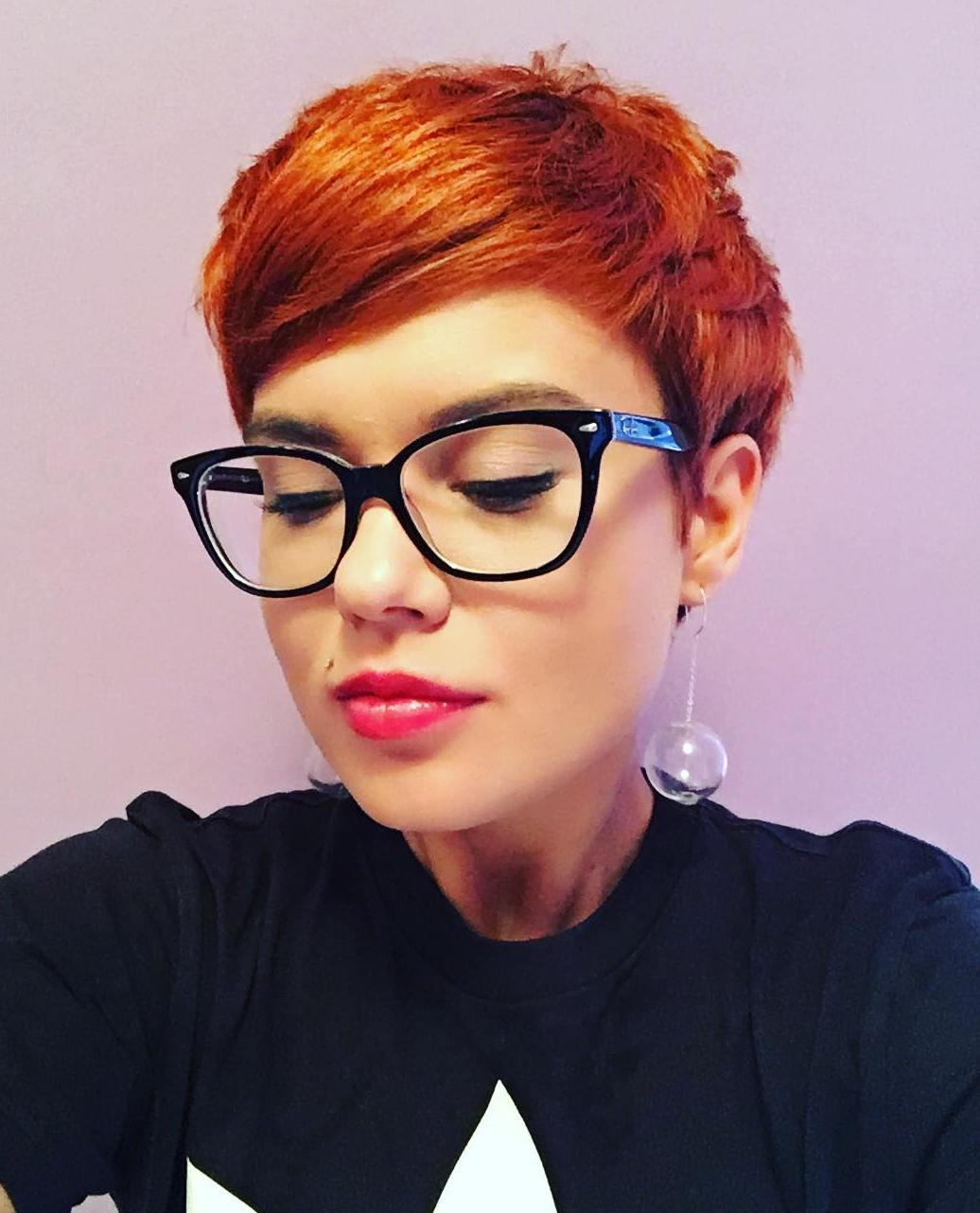Copper Choppy Pixie for Thick Hair