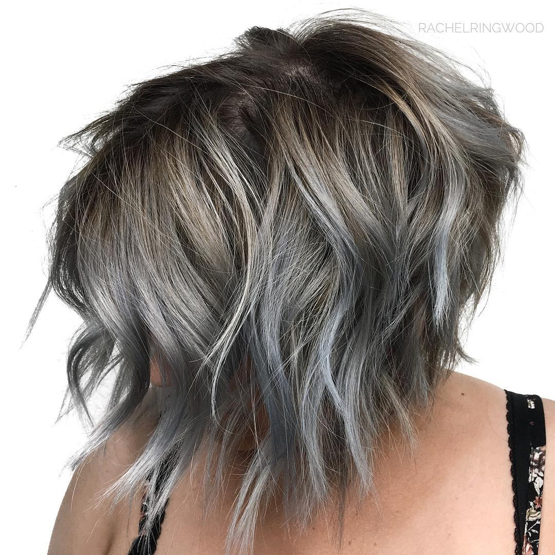 Chic Shaggy Bob with Gray Highlights
