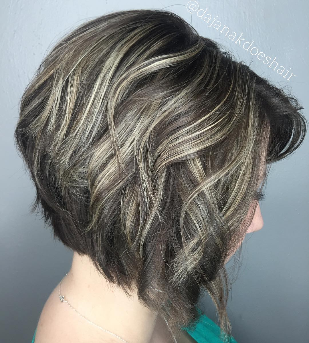 Inverted Wavy Bob with Highlights