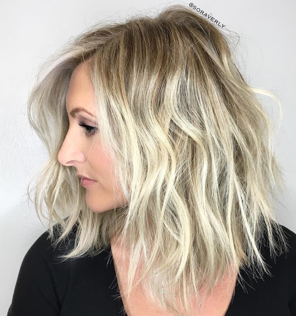 Blonde Lob with Disheveled Waves
