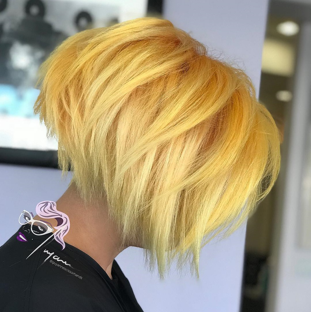 Bold Razored Yellow Blonde Bob
