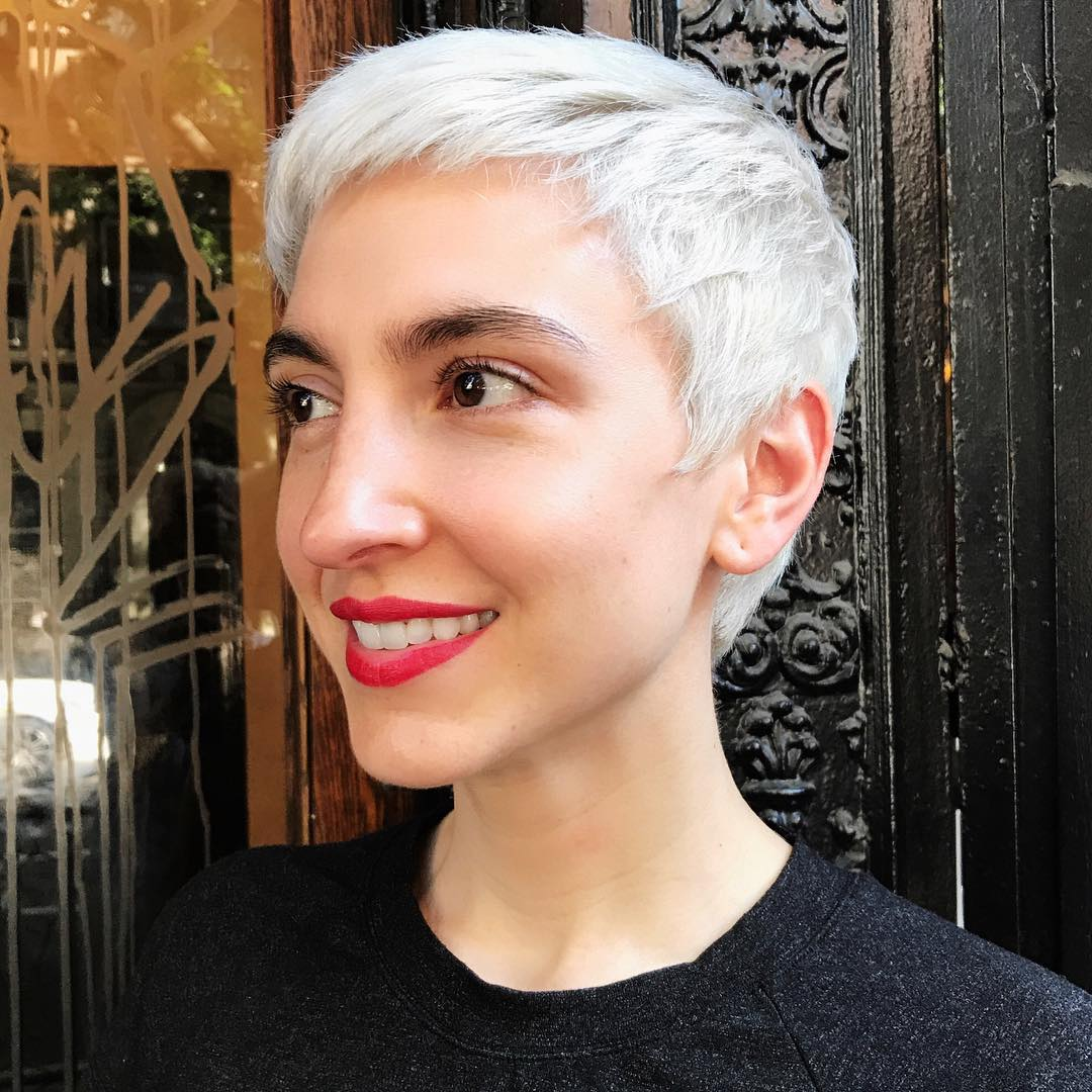 Short Bright White Pixie