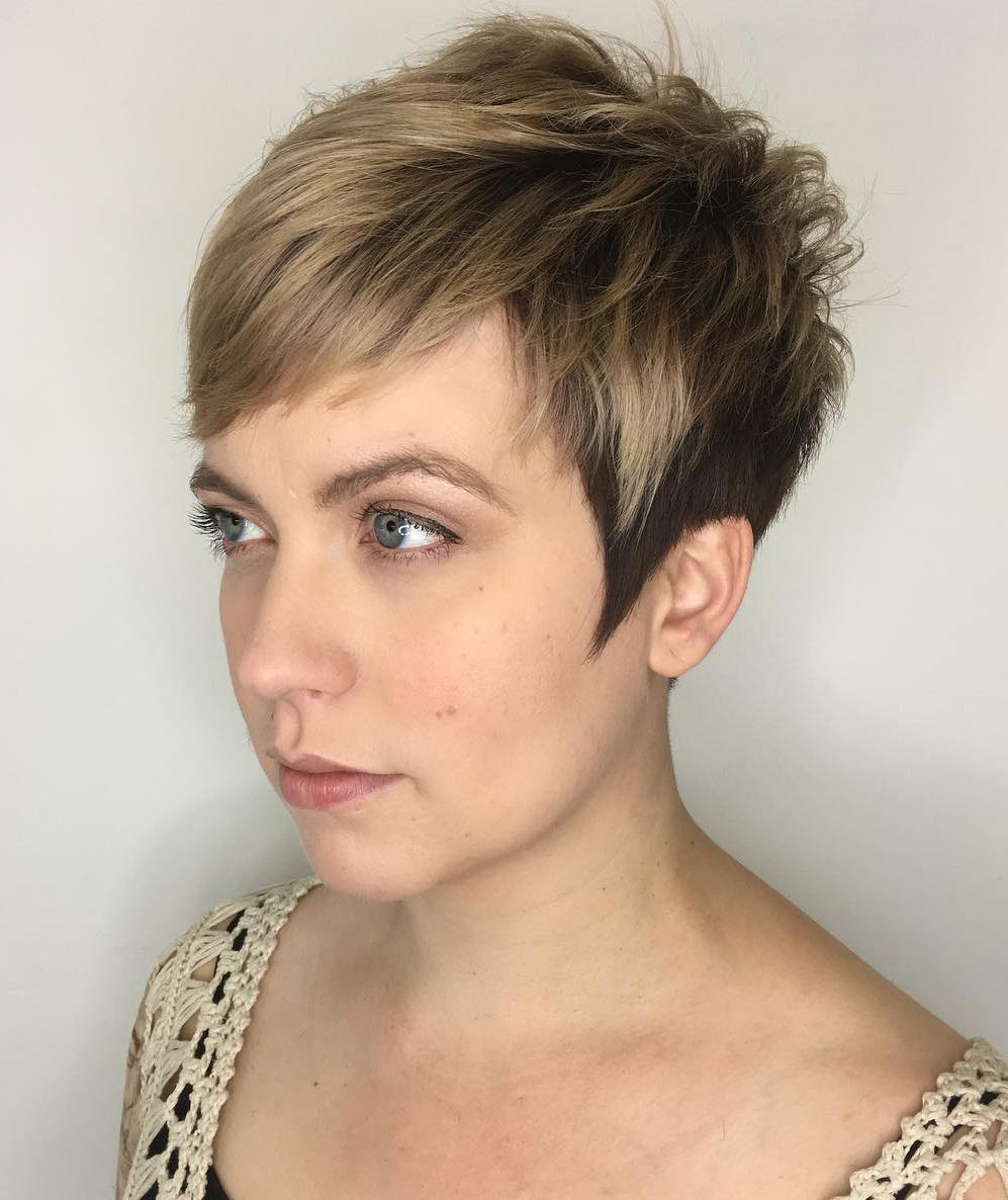 Cute Short Pixie with Angled Sideburns