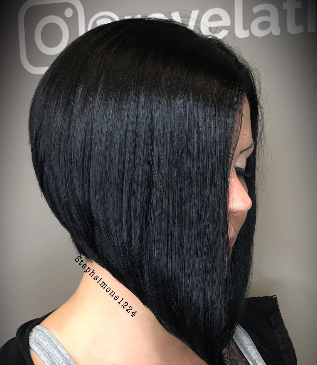 Sleek Black Blunt Stacked Bob
