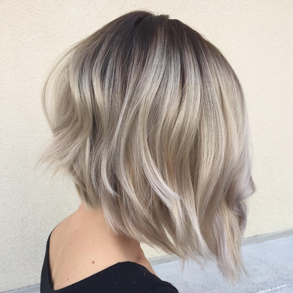 Angled Ash Blonde Bob with Dark Roots