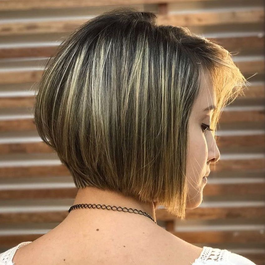 Accurate Inverted Bob with Blonde Highlights