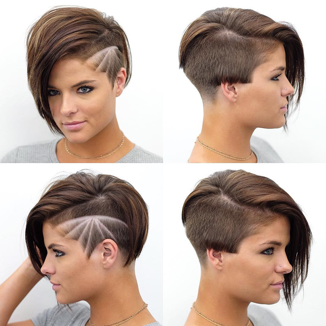 Asymmetrical Undercut Pixie with Design