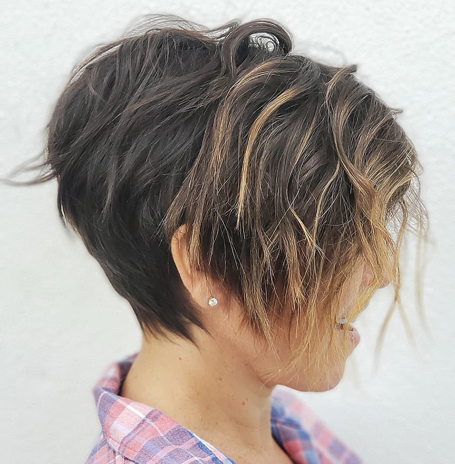 Short Pixie with Long Highlighted Bangs
