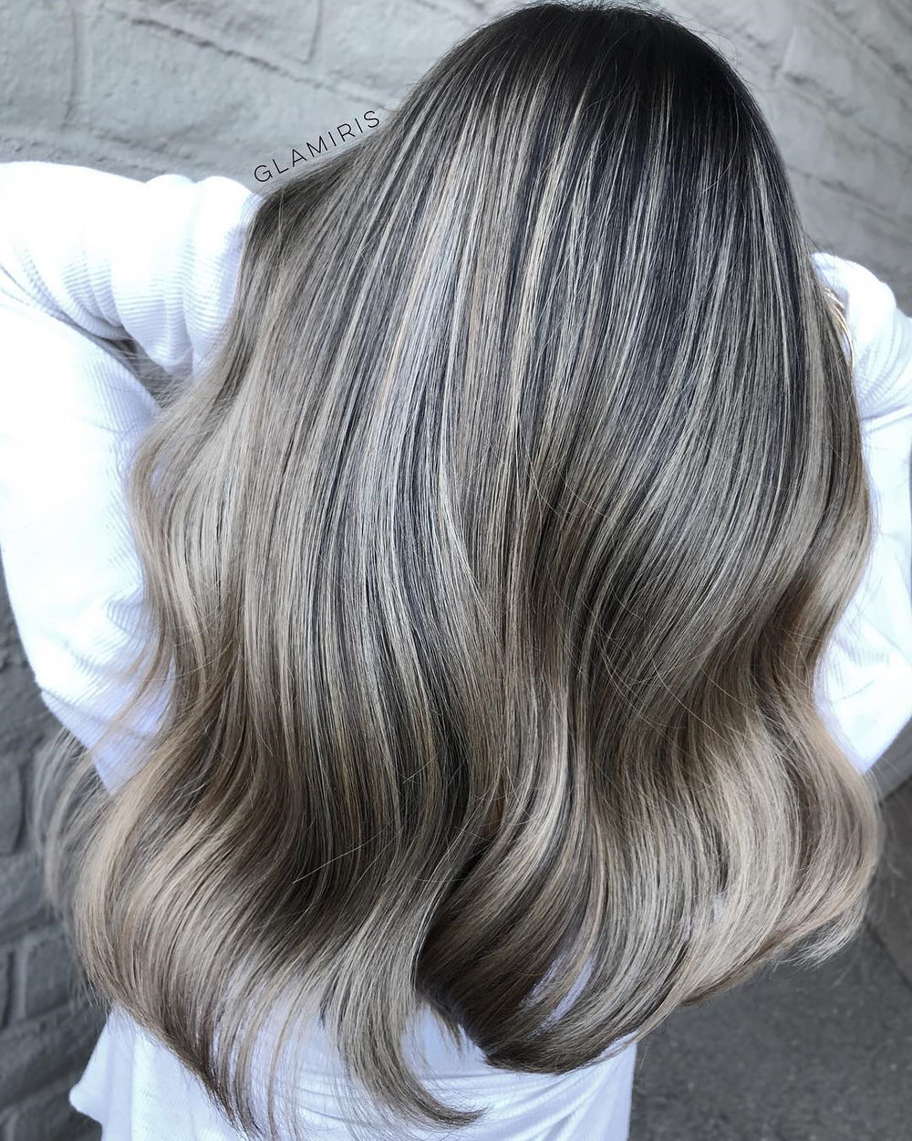 Dark Hair with Silver and Blonde Balayage
