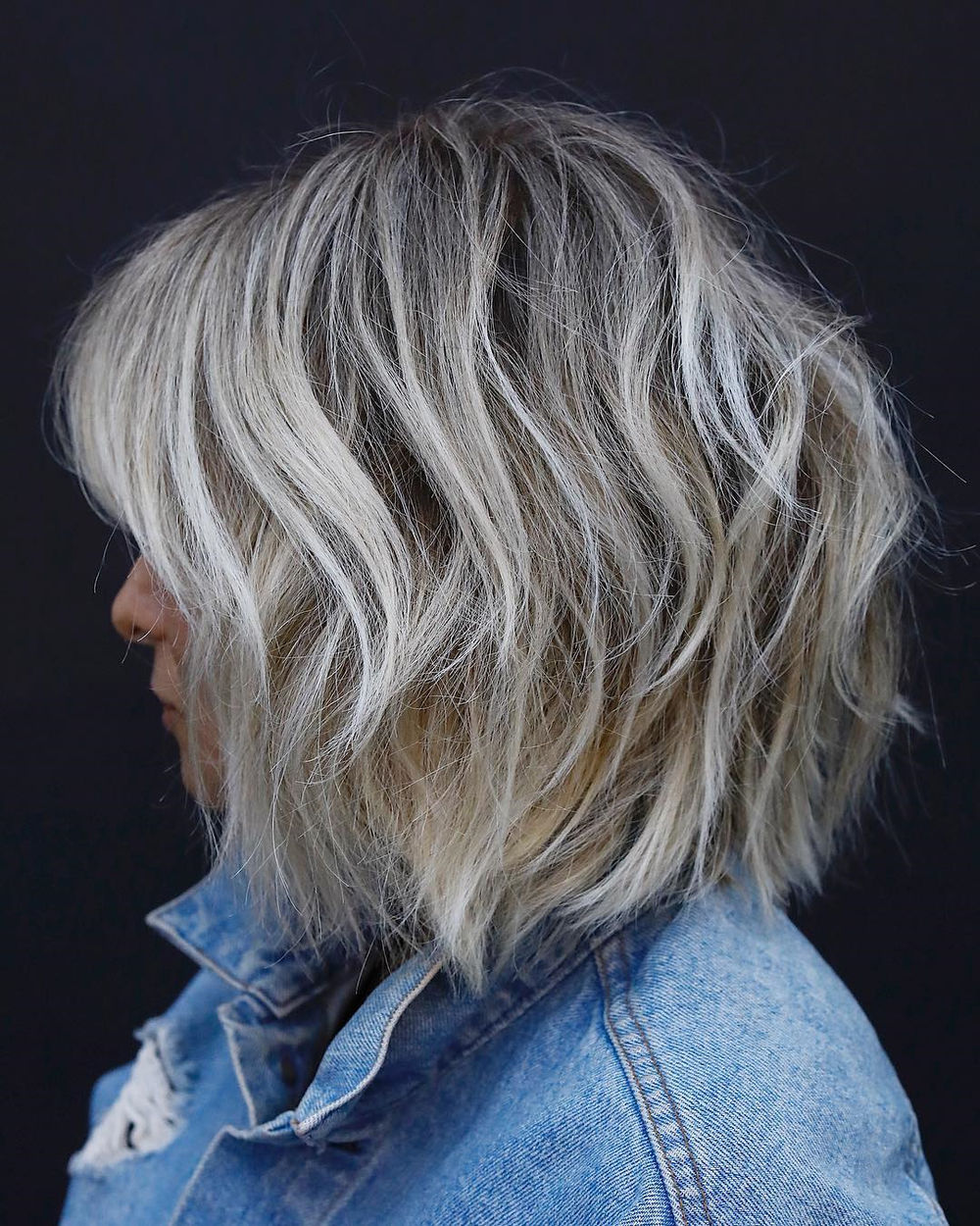 Shaggy Bob with Silver Highlights