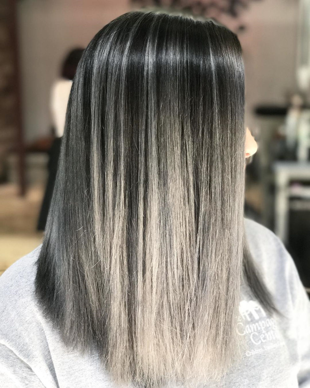 Silver Gray Highlights for Dark Hair